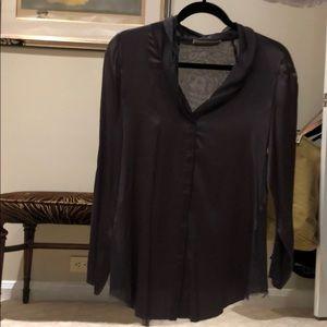 Ramy Brook button down silk gray shirt